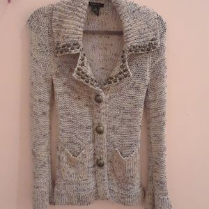 BCBG KNIT  CHUNKY CARDIGAN BUTTONS AND RHINESTONES
